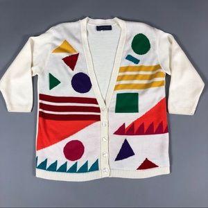 Vintage 80s colorful geometric cardigan